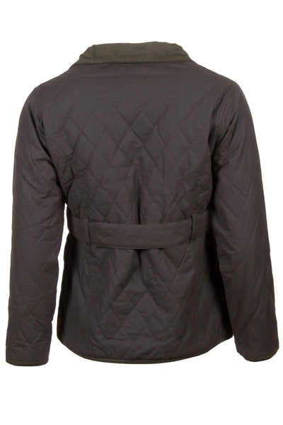 Olive - Belted Diamond Quilted Waxed Cotton Jacket