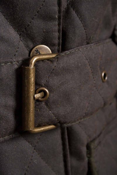 Olive - Rydale Belted Diamond Quilted Waxed Jacket