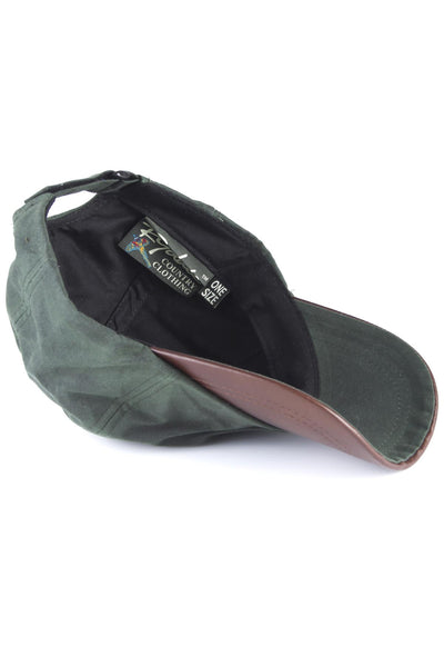Olive - Mens 100% Waxed Cotton Country Baseball Cap with Leather Peak