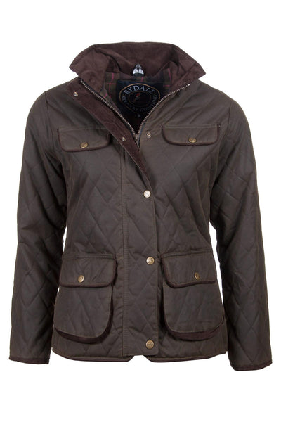 Olive - Rydale Ladies Diamond Quilted Wax Cotton Jacket