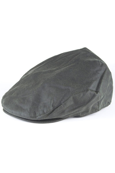 Olive - Mens 100% Waxed Cotton Country Flat Cap