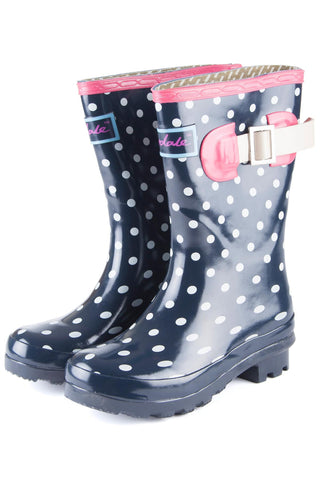 Navy - Rydale Juniors Polka Dot Navy Wellington Boots