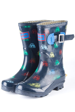 Navy - Rydale Juniors Tractor Navy Wellington Boots