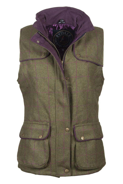 Plum - rydale ladies tweed bodywarmer