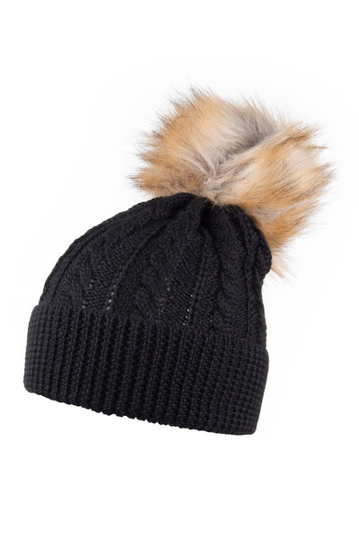 b8468785b7d Rydale Ladies Pom Pom Knitted Hat With Faux Fur Bobble