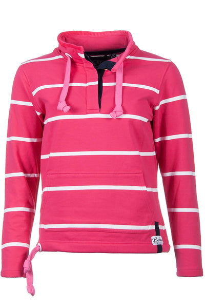 Ruby / White - Rydale Ladies Button Neck Hooped Sweatshirt