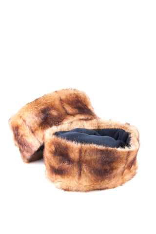 Brown/Navy - Rydale Ladies Fur Boot Liners