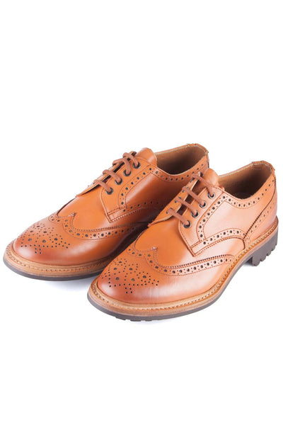 Tan - Rydale Men's Surrey Brogue Shoe with Rubber Soles