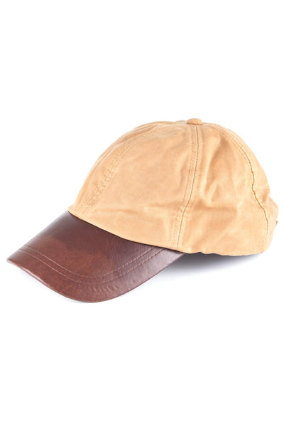 Tan - Mens 100% Waxed Cotton Country Baseball Cap with Leather Peak