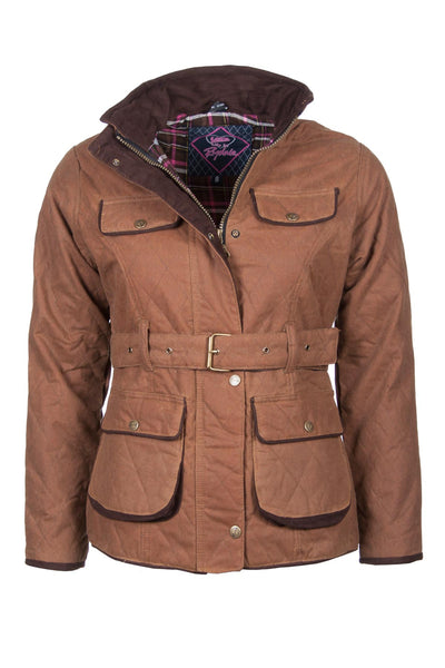Tan - Belted Diamond Quilted Wax Jacket