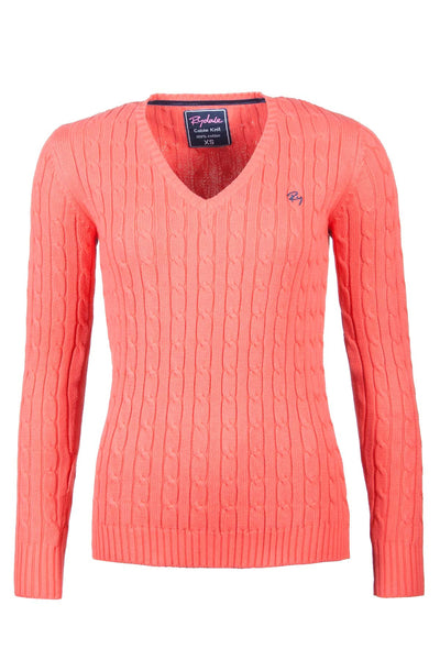 Coral - V Neck Cable Knit Sweater