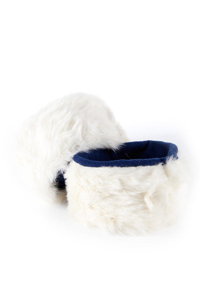 White/Navy - Rydale Ladies Fur Boot Liners