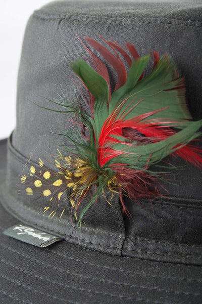 Olive - Waxed Cotton Feathered Wide Brim Hats