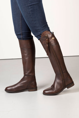 Brown - Tall Leather Riding Boot