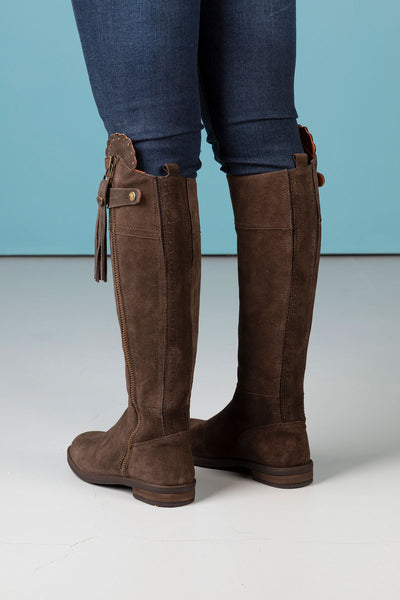 Chocolate - Tall Suede Riding Boots
