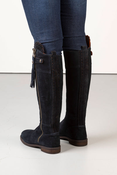 Navy - Tall Suede Riding Boots