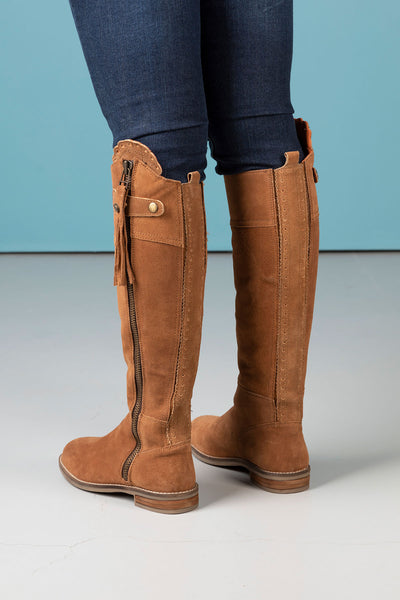 Tan - Tall Suede Riding Boots