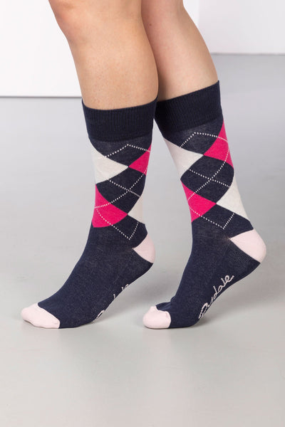 Navy - Argyle Ankle Socks
