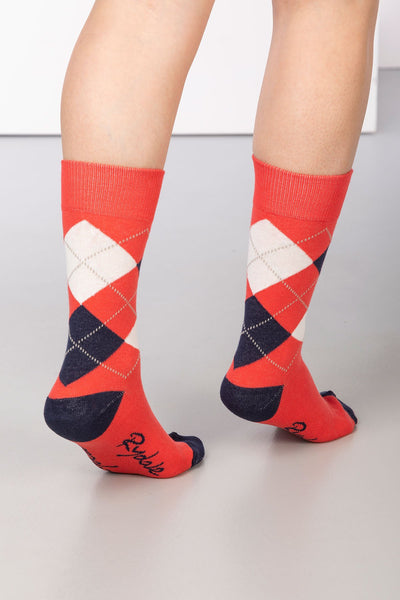 Cherry - Argyle Ankle Socks