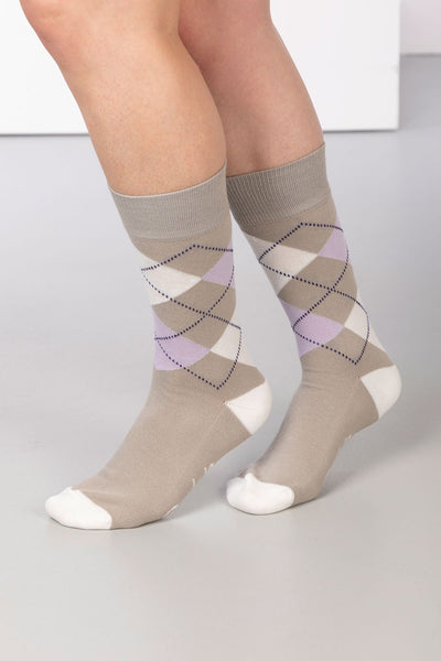 Silver - Argyle Ankle Socks