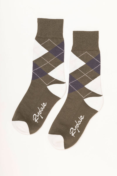 Khaki - Argyle Ankle Socks