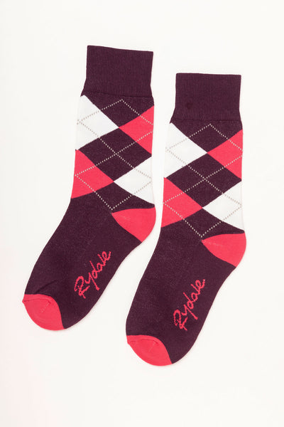 Berry - Argyle Ankle Socks