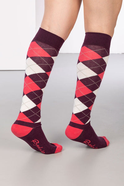Berry - Argyle Knee Length Socks