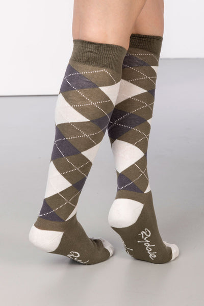 Khaki - Argyle Knee Length Socks