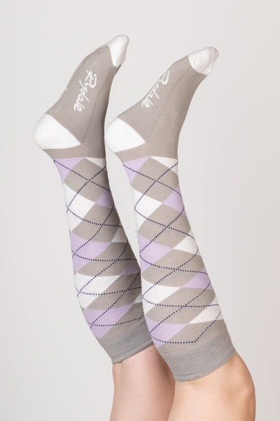 Silver - Argyle Knee Length Socks