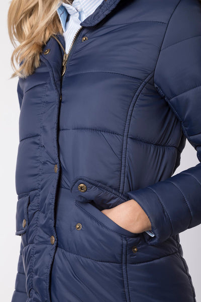 Navy - Ladies Arram Long Fur Coat