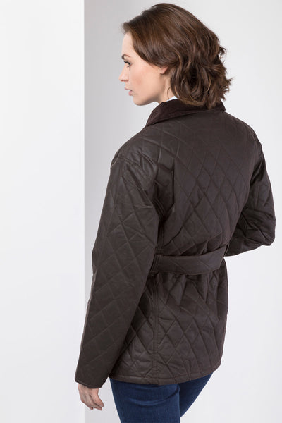 Brown - Belted Diamond Quilted Waxed Cotton Jacket