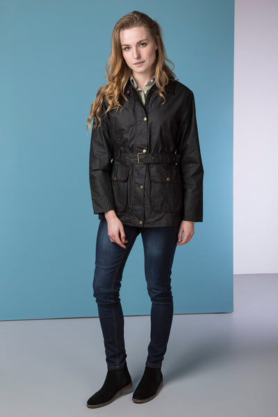 Black - Mid Length Belted Wax Jacket