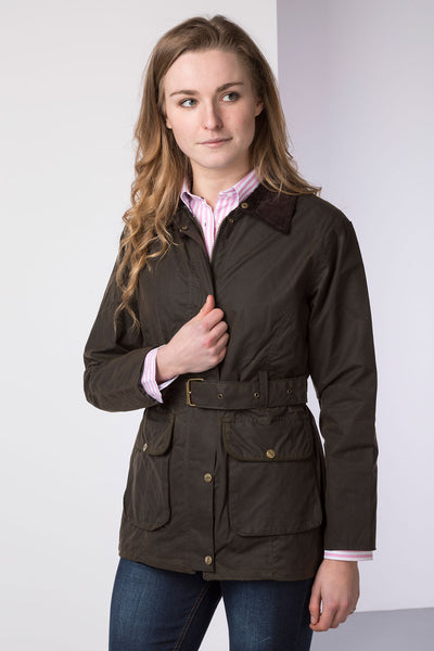 Olive - Mid Length Belted Wax Jacket