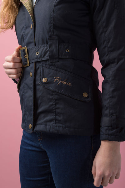 Navy - Belted Wax Biker Babe Jacket