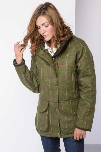 Light Green/Pink - ladies waterproof long tweed jacket