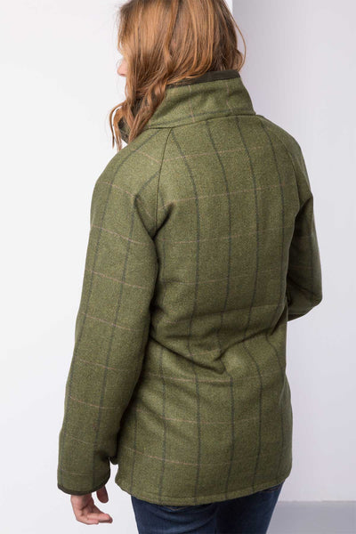 Olive / Pink - Ladies long tweed jacket