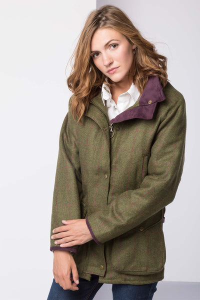 Plum Check - Ladies long tweed jacket