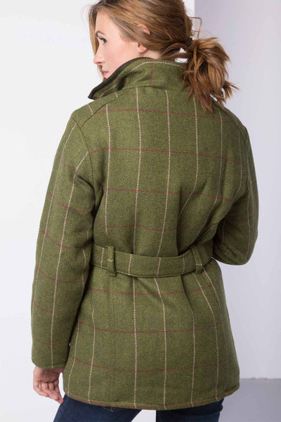 Light Green/Pink - Tweed Belted Coat
