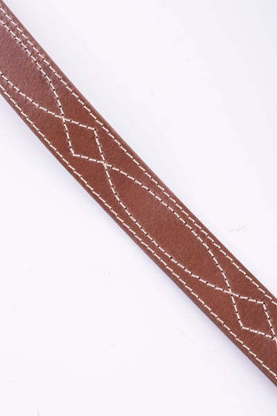 Tan - Betty Stitch Detail Leather Belt