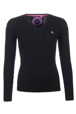 Black - V Neck Cable Knit Sweater