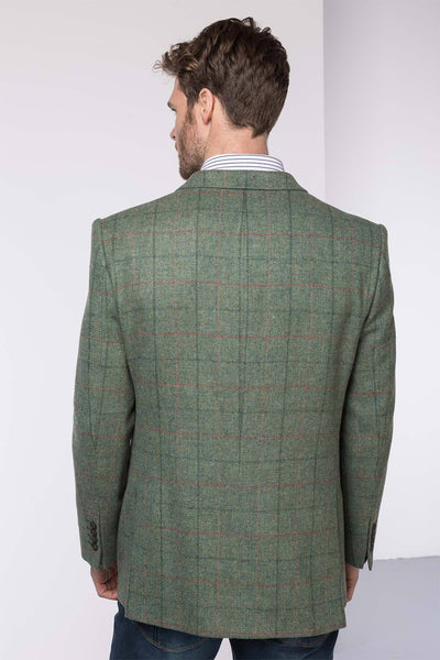 Men's Green Slim Fit Tweed Jacket - Helmsley