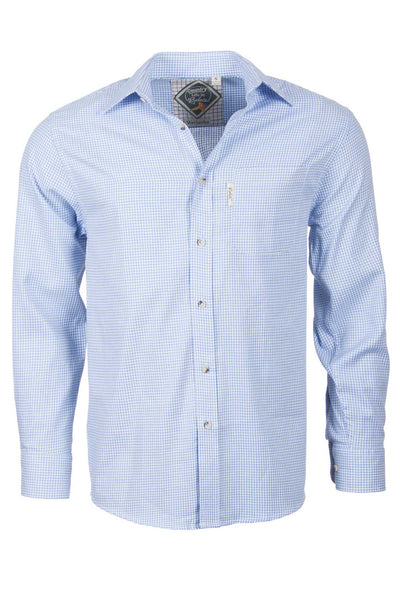 Wetherby Blue - Mens Long Sleeved Check Shirts