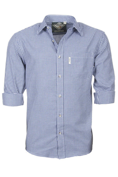 Millington Blue - Mens 100% Cotton Long Sleeved Shirt
