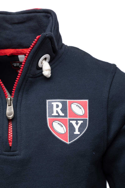 Navy - Boy's Zip Neck Rugby Sweatshirt