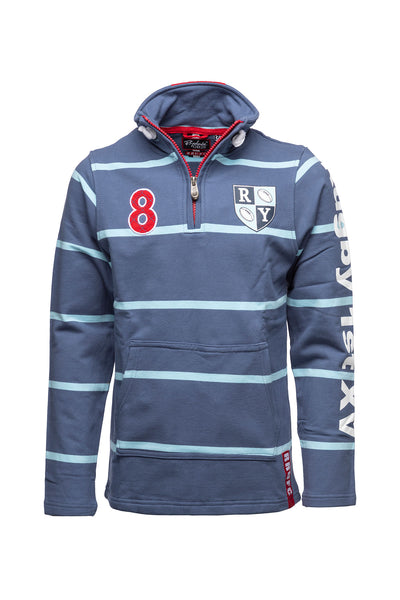 JBlue / Sky - Boy's Zip Neck Rugby Sweatshirt