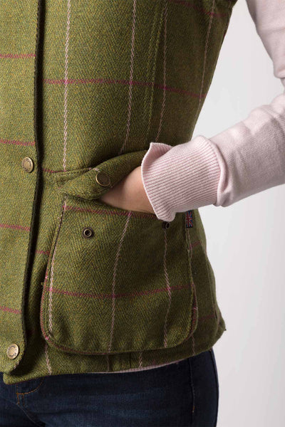 Light Green/Pink - Ladies Bramham II Tweed Waistcoat