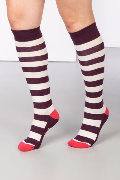 Berry/Vanilla - Broadstripe Knee Length Socks
