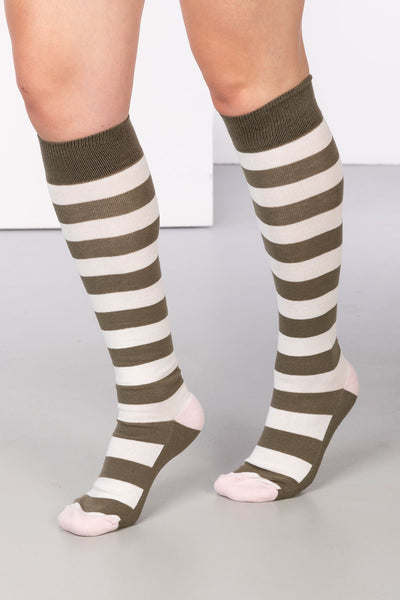 Khaki/Vanilla - Broadstripe Knee Length Socks