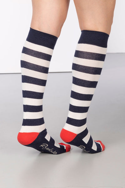 Navy/Vanilla - Broadstripe Knee Length Socks