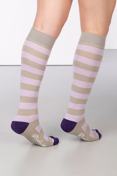 Silver/Lilac - Broadstripe Knee Length Socks